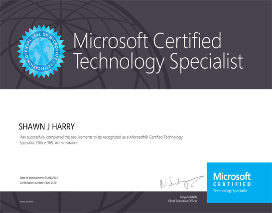 Micorsoft Certified-Technology Specialist
